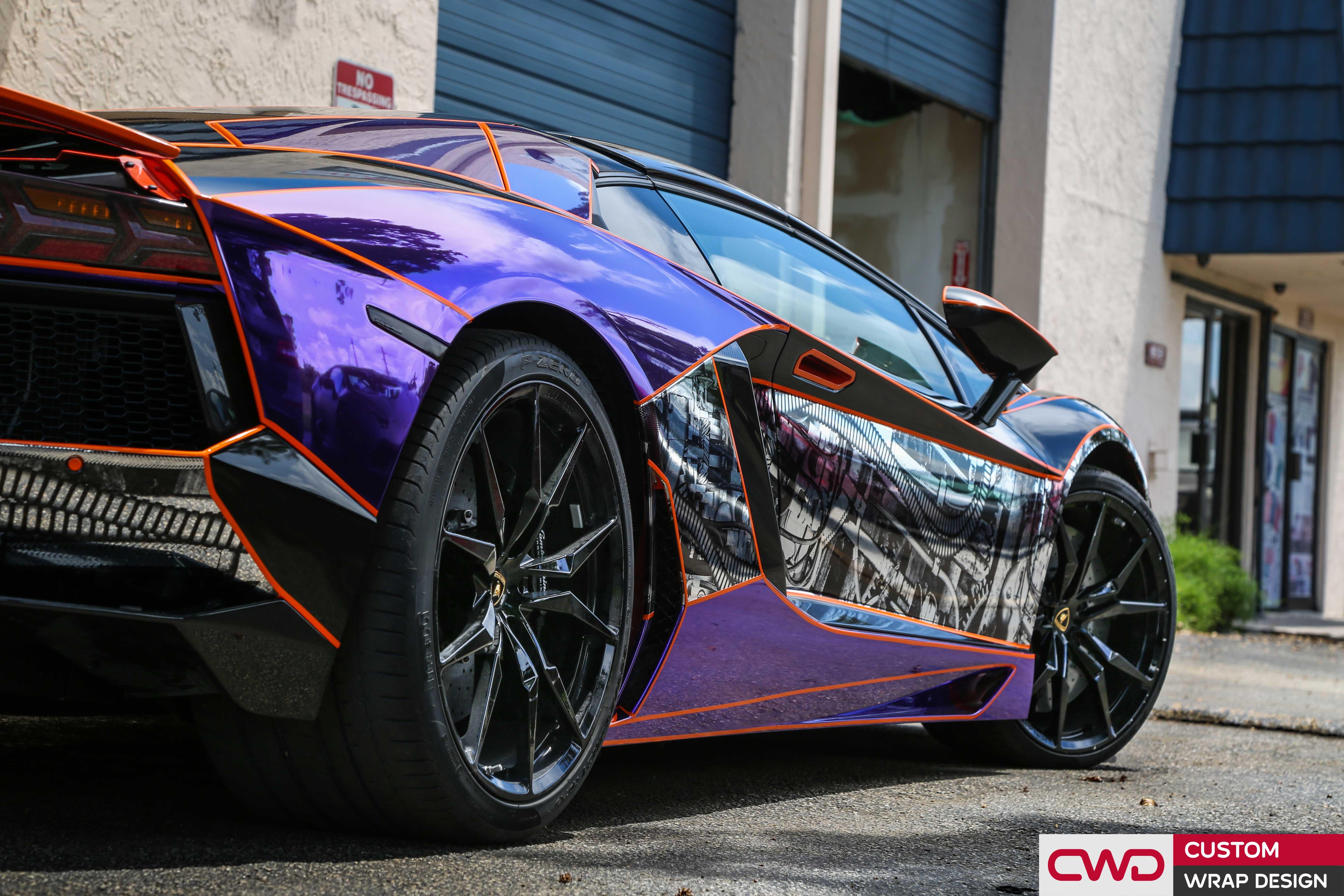 Purple Chrome Wrapped Lamborghini Aventador | CWDWRAP
